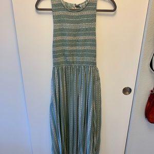 Blue Ciel Printed Smocked Midi Dress